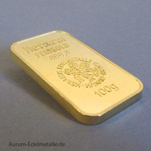 Goldbarren 100 Gramm Feingold 9999 Heraeus