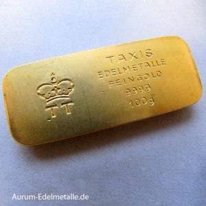 Goldbarren 100 Gramm historisch gold 9999 Thurn und Taxis