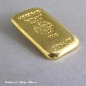 Goldbarren 100 g Feingold 9999 Heraeus Hanau