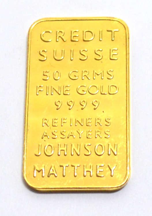 Goldbarren Johnson Matthey 50 Gramm Feingold 9999 Credit Suisse