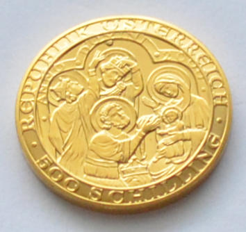 österreich 500 Schilling Goldmuenze Jesus Christus 2000