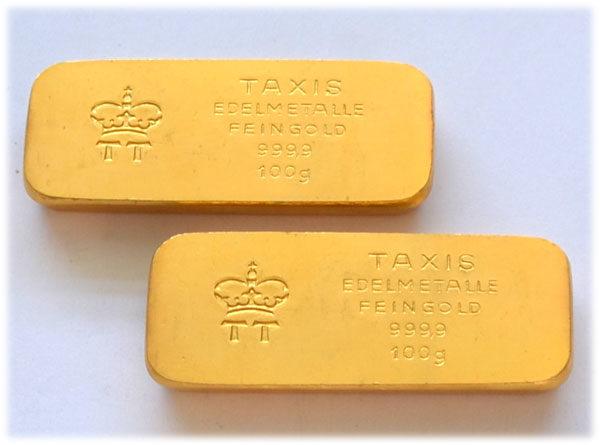 Historischer-Taxis-Goldbarren-100-Gramm-9999