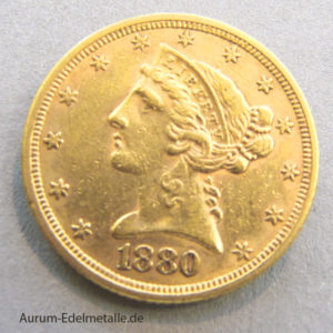 USA 5 Dollars Half Eagle Gold Liberty Head 1880