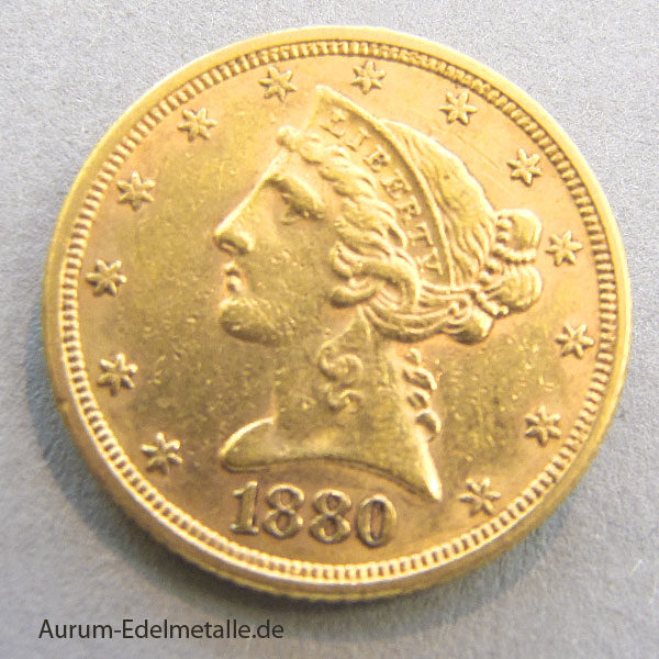USA 5 Dollars Half Eagle Gold Liberty Head 1880