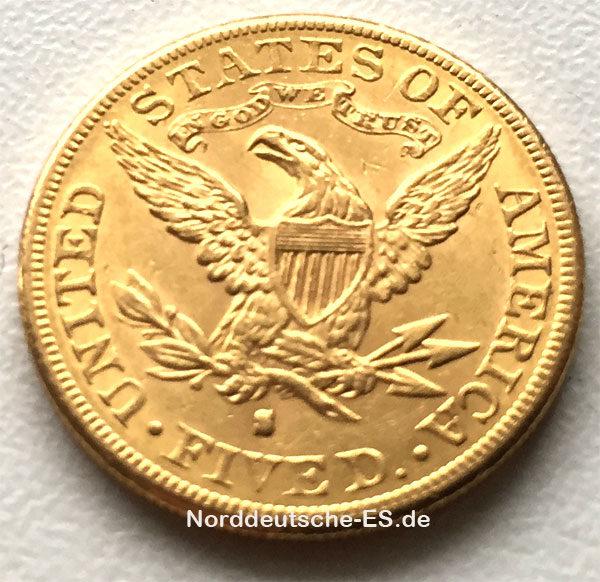 USA-5-Dollars,-Half Eagle-1886