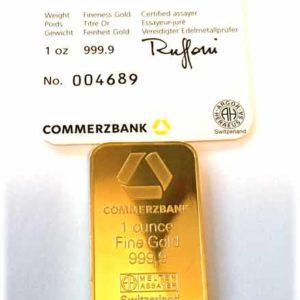 Goldbarren 1 oz Feingold 9999 Argor Heraeus