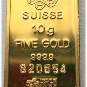 Goldbarren 10 g Feingold 9999 PAMP