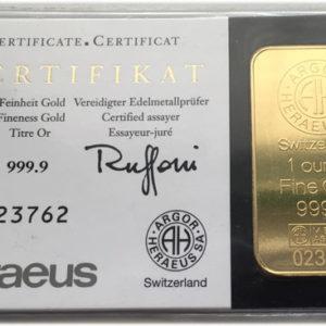Goldbarren 1 oz Feingold 9999 KINEBAR TM - Schweiz - Argor-Heraeus