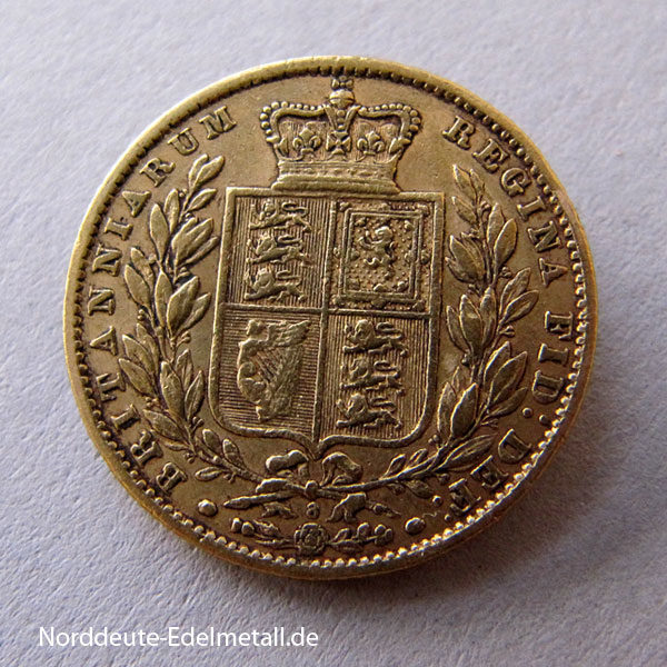 England One Pound Sovereign Victoria Young Head Wappen 1869