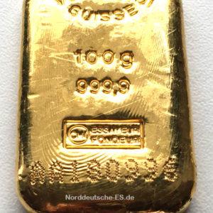 Goldbarren 100 Gramm Feingold 9999 Valcambi Schweiz - gegossen