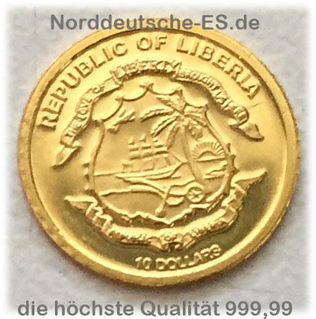 Republik of Liberia 10 Dollars 0_5g Feingold 99999