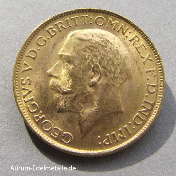 England One Pound Sovereign George V Goldmünze Drachentöter