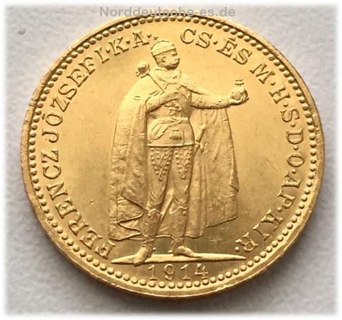 Ungarn 20 Korona Goldmuenze Ferenc Jozsef 1914