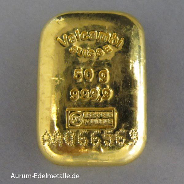 Goldbarren 50g Goldbarren 9999 Valcambi