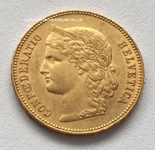 Confoederatio Helvetica 20 Franken Schweiz 1890 Goldmünze 900