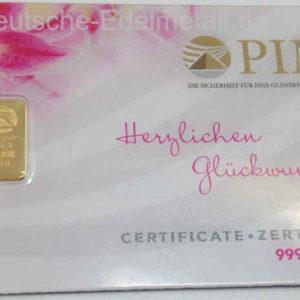 Goldbarren Schweiz 0_5g Feingold 9999 Zertifiziert in Karte