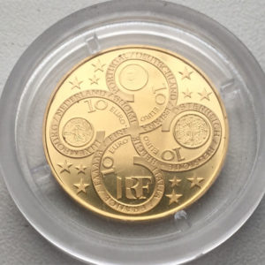 Frankreich 10 Euro Gold 2003 Münze zum Jahrestag des Abschieds vom Franc