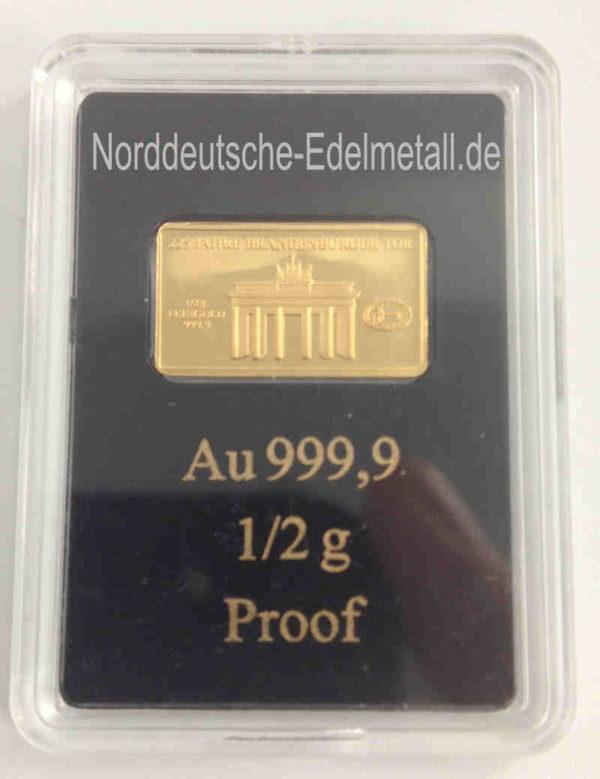 Goldbarren 0_5 Gramm Feingold 9999 Brandenburger Tor 225 Jahre