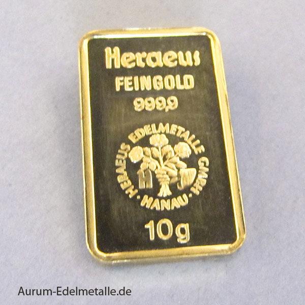 Goldbarren 10 Gramm Feingold 9999 Heraeus