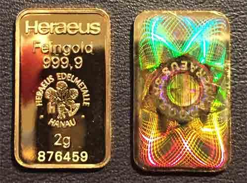 Goldbarren Heraeus 2g Feingold 9999