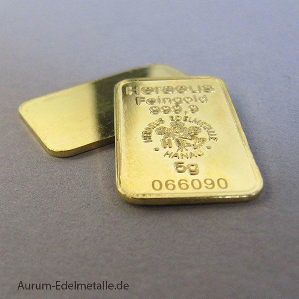 Goldbarren 5 Gramm Feingold 9999