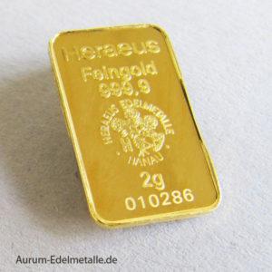 Goldbarren 2 g Kinebar Heraeus Hologramm Feingold 999.9‰