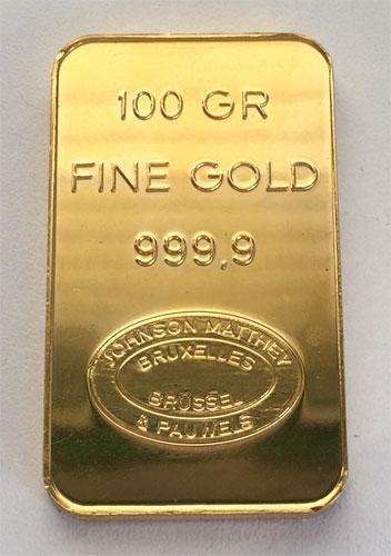 Goldbarren Johnson Matthey 100g Feingold 9999