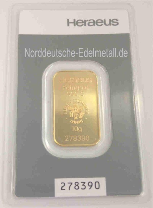 Goldbarren 10g Heraeus Feingold 9999