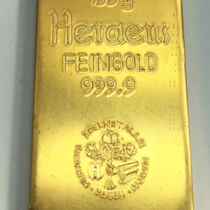 Goldbarren 100g Feingold 9999 Heraeus Hanau historisch