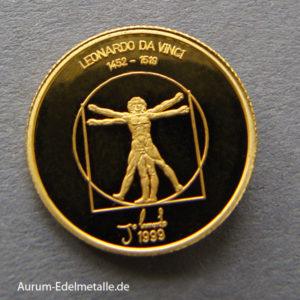 Mongolei 1000 Tugrik 1_25 oz Gold Leonardo da Vinci 1999