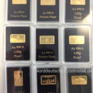 Goldbarren 1g Feingold 9999 Wahrzeichen