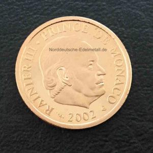 Monaco 20 Euro Goldmuenze Fuerst Rainier 2002