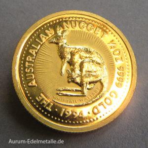 Australien 25 Dollars Kangaroo Nugget 1/4 oz Goldmünze