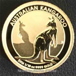 Australien Kangaroo Nugget 1_10 oz Feingold 9999