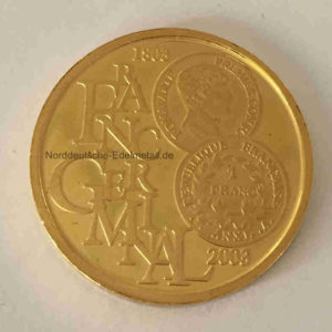 Belgien 100 Euro Gold 2003 1_2oz Feingold Franc Germinal