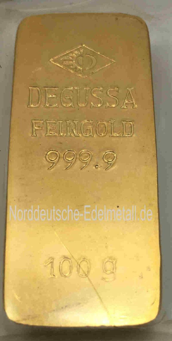 Goldbarren 100g Sargform Degussa