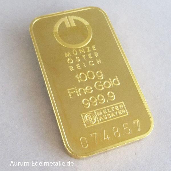 Goldbarren 100g Feingold 9999 Münze Österreich
