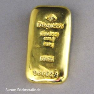 Goldbarren 100g historisch gegossen Degussa