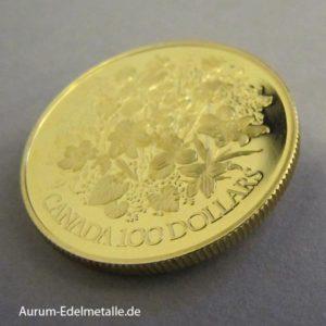 Goldmünze Blumenstrauss 100 Dollars 1977