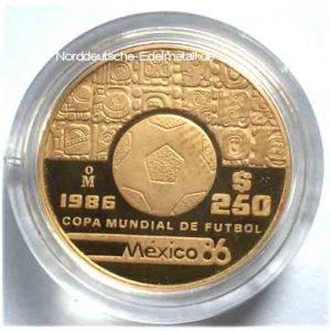 Mexiko 250 Pesos Gold Copa Mondial de Futbol 1986