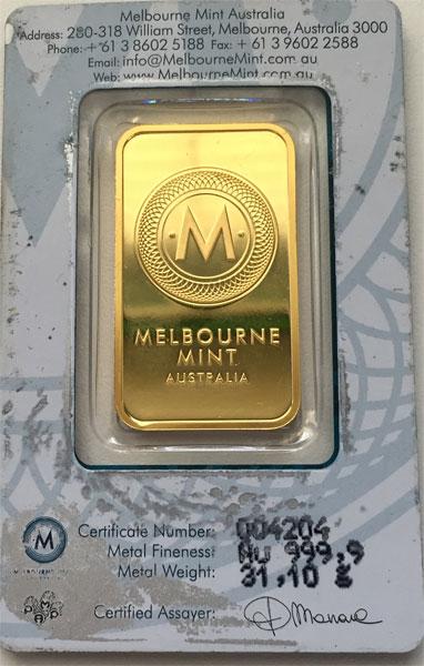 Australien Kangaroo Goldbarren 1oz Feingold 9999 Anlage Goldbarren, 1 oz, Feingold = 31,1g, Feingehalt 999,9‰,