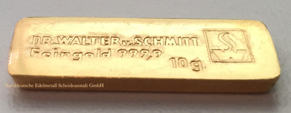 Goldbarren 10 g Feingold 9999 Dr Walter und Schmitt - besondere Historie
