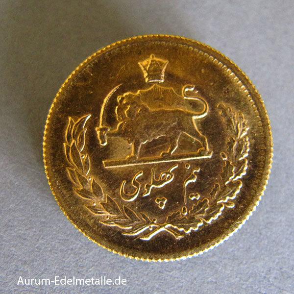 Persien 1_2 Pahlavi Goldmünze 3_65g Feingold