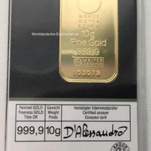 Goldbarren 10g Feingold 9999 KINEBAR TM - der Muenze Oesterreich