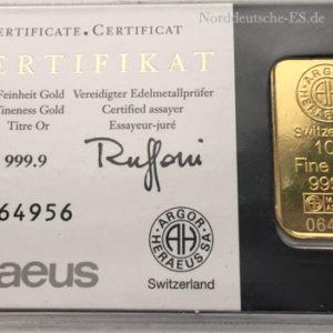 Goldbarren 10g Feingold 9999 KINEBAR