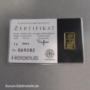Goldbarren 1g Argor Heraeus Kinebar