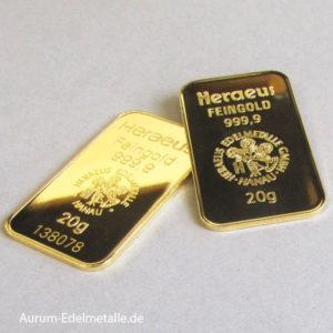 Goldbarren 20g Heraeus Feingold 9999