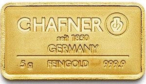 Goldbarren 5g Feingold 9999 CHafner Pforzheim