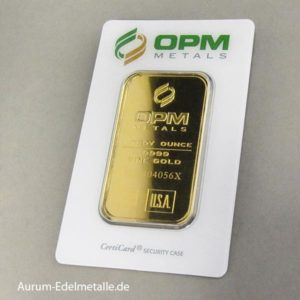 Goldbarren 1 oz Feingold OPM Metals