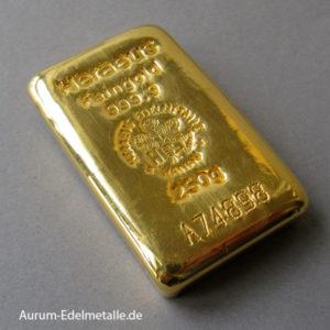Goldbarren 250g Feingold 9999 Heraeus Hanau Gussbarren